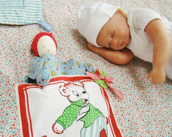 Baby Quilt & Doll, Changing Pad, Tummy Time Blanket, with Waldorf Doll and Vintage Style Hanky Pocket