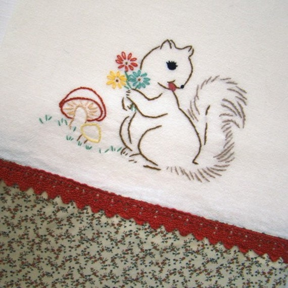 Bashful Squirrel - Hand Embroidered Floursack Tea Towel