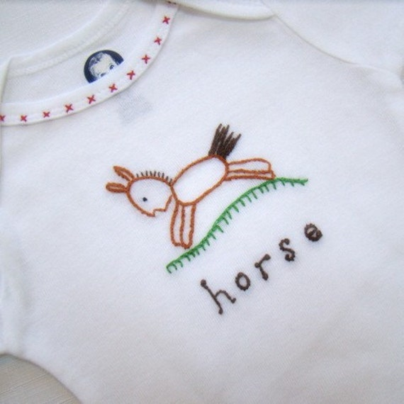 Baby Loves Horses - Hand Embroidered Onesie, Tee Shirt, Bodysuit (made to order any size)
