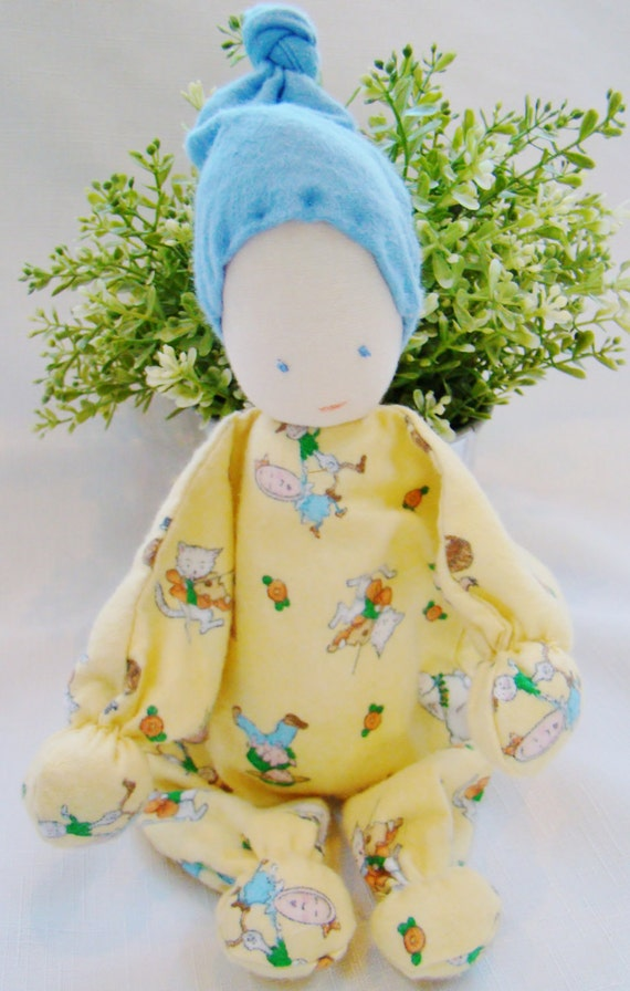 SALE 20 % OFF - Waldorf Style Baby Doll, Infant & Toddler Size, Hand Embroidered Face, 11 inch (Ready to Ship)
