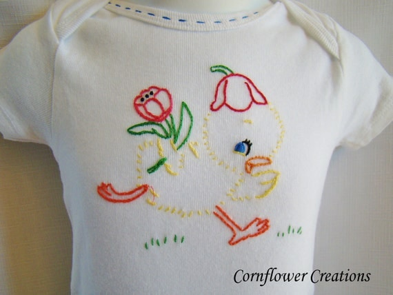 Tiptoe Through The Tulips - Hand Embroidered Onesie (made to order any size)