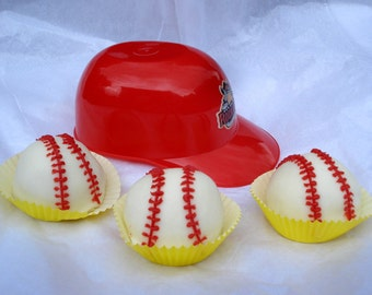 Cake Balls: Bitty Bite Baseball Cake. Perfect gift for Baseball fan. Father's Day gift. Little League gift.