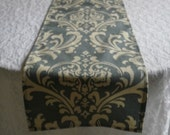 FREE DOMESTIC SHIPPING Table Runner -Traditions Ivory  on Slate Blue Damask -Wedding Accessories/Formal Events/Formal Dining/Table Linens