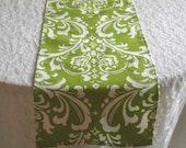 Free Domestic Shipping-Table Runner-Traditions White on Chartreuse Damask-Wedding Accessories/Formal Events.Formal Dining.