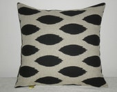 SALE.Free Domestic Shipping. Decorative Pillow Cover -  18 inch Black on Khaki Ikat