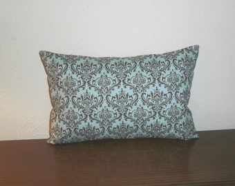 FREE DOMESTIC SHIPPING Decorative Pillow Cover - 12 X 18 inch Madison brown on blue damask