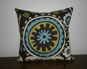 FREE DOMESTIC SHIPPING Decorative Pillow Cover -18 inch Suzani Print in Brown/Blue/Natural
