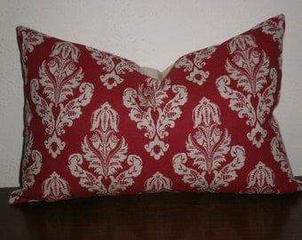 FREE DOMESTIC SHIPPING Decorative Pillow Cover -12 X 18 inch Linen Like on Lipstick Damask