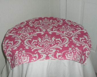 FREE DOMESTIC SHIPPING Traditions White on Pink Damask Table Square/ Weddings /Formal