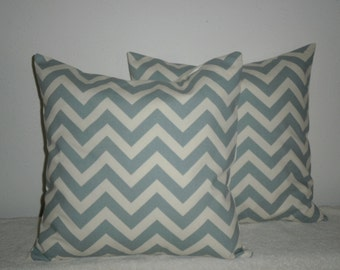 FREE DOMESTIC SHIPPING Decorative Pillow Cover -18 inch Chevron Zig Zag Village Blue on Natural