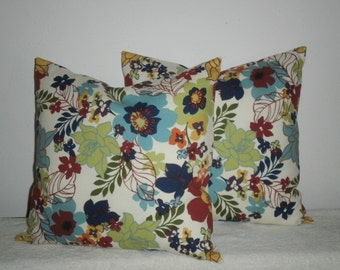 Free Domestic Shipping. Set of Two Decorative Pillow Covers - 18 inch Flower Garden