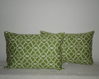 SALE...Free Domestic Shipping.. Decorative Pillow Cover - 12 X 18 inch Geometric Green and Off White Lattice