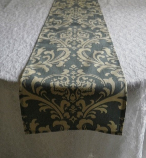 Table Runner Traditions Ivory On Slate Blue Damask Wedding