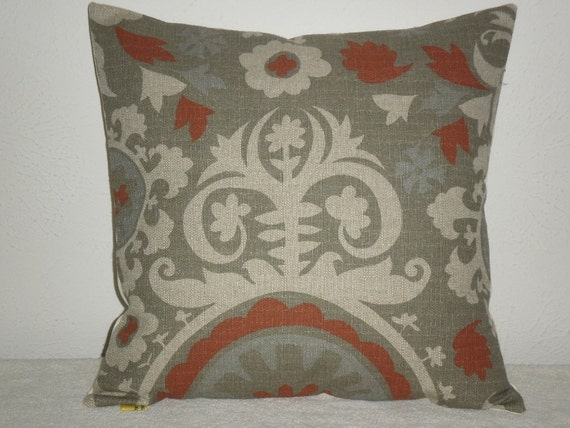 FREE DOMESTIC SHIPPING Decorative Pillow Covers - 18 inch Suzani Rust Sone Taupe