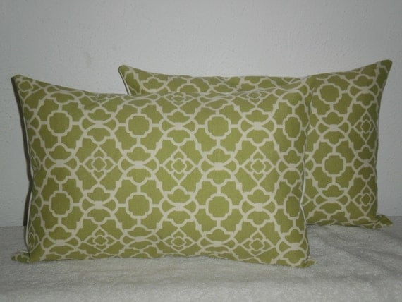 FREE DOMESTIC SHIPPING Set of Two Decorative Pillow Covers - Lumbar 12 X 18 inch /Geometric/ Celery Color and Cream Lattice/ Indoor Outdoor