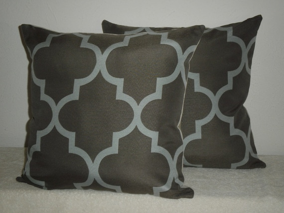 FREE DOMESTIC SHIPPING Set of Two - Decorative Pillow Covers -18 inch Geometric Fretwork Light Teal on Taupe