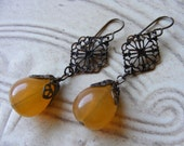 Vintage Amber Lucite and Filigree Earrings Womens Jewelry