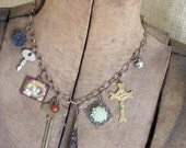 Charm Necklace Shabby Chic Vintage Charm Necklace Womens Jewelry