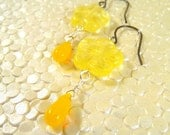 Flower and Drop Earrings - Yellow