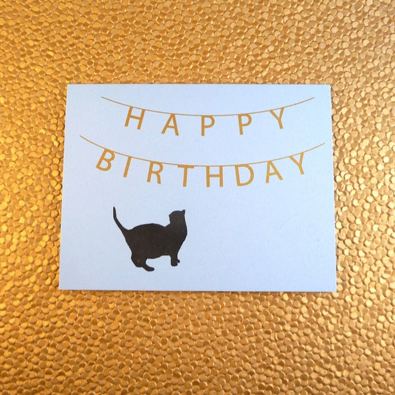 Happy Birthday Banner & Cat Card