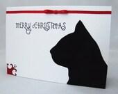 Festive Feline - Cat Silhouette Christmas Card