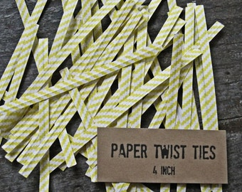 100 Yellow and White Favor Bag Twist Ties, Paper & Wire Ties, Stripes