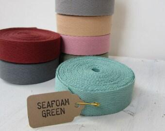 Seafoam Green Twill Tape Ribbon, 3/4 inch wide, Cotton Twill Tape, Sewing Twill Tape