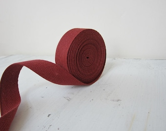 Red Twill Tape Ribbon, 3/4 inch wide, Sewing Tape, Medium Cotton Twill Tape, 5 yards