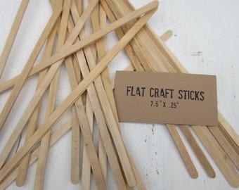 100 Slim Craft Sticks, Natural Wood Sticks,  Flat Dowels, 7.5 inches long, Wooden Sign Holders, Craft Wood Sticks, Craft Supplies