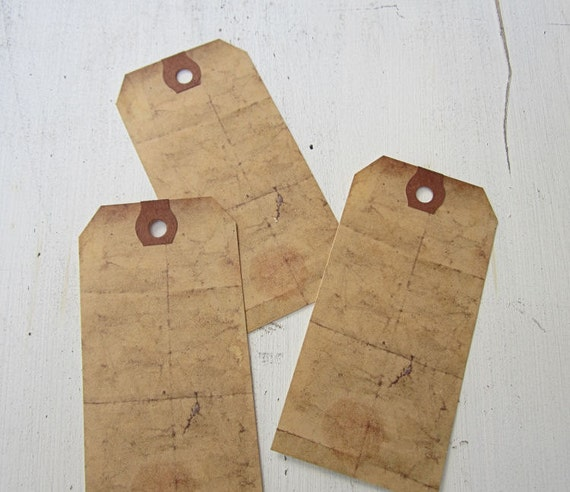 Aged Tags, Primitive Tags, Paper Bag Tags, Country Escort Tags
