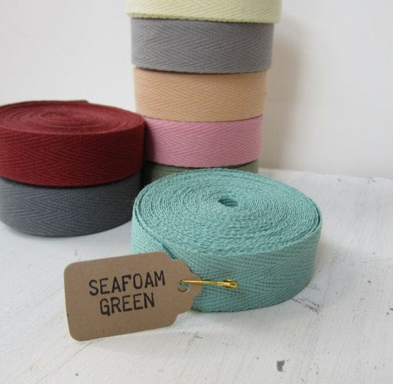 Seafoam Green Twill Tape Ribbon, 3/4 inch wide, Cotton Twill Tape, Sewing Twill Tape