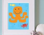Sea Octopus Print for Kid's Room