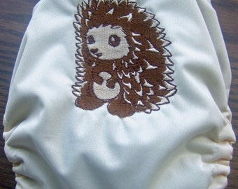 Cute Hedge Hog Embroidered AIO Cloth Diaper Size Large     ON SALE