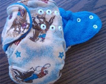 Rodeo Cowboys AIO Cloth Diaper, Size Medium 12-18 lbs