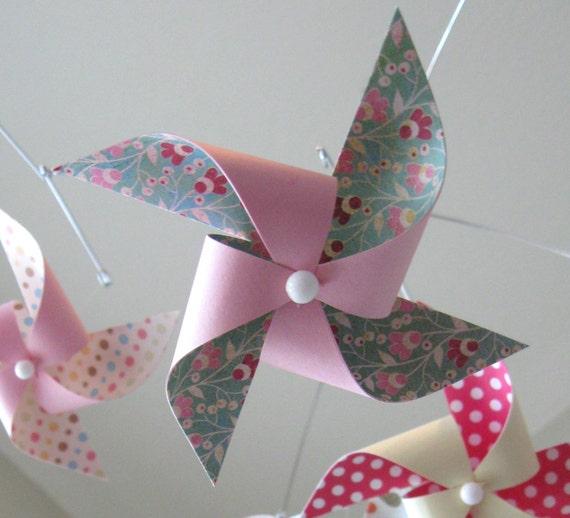 Baby Girl Mobile / Pinwheel Mobile / Nursery Mobile / Crib Mobile / Red, Yellow and Pink: Summertime