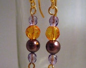 Amethyst Pearl Citrine and Purple Crystal Earrings-