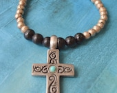 Turquoise Sterling Silver Cross African Silver Beaded Leather Necklace