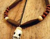 Skull Bone Pendant Wood  Necklace - SALE