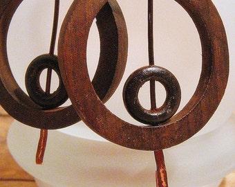 Double Hoop Wood Earrings-RESERVED