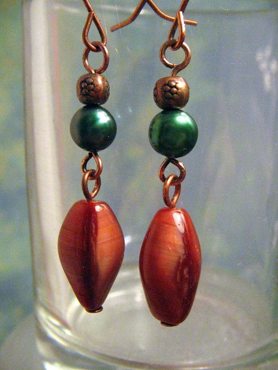 Turquoise Pearl, Copper and Glass Earrings
