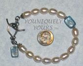 SALE - Pearls and Kyanite Toggle Bracelet
