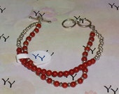 Holiday Red Double Strand Natural Coral and Bali Bracelet