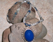 SALE -INTENSE BLUE Onyx and Moonstone Necklace