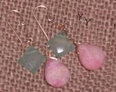 Natural Pink Peruvian Opal and Aqua Chalcedony GF Dangle Earrings