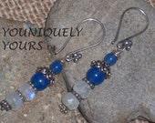 SALE- INTENSE BLUE Onyx and Moonstone Earrings