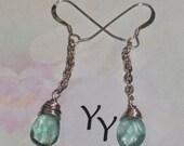 FREE SHIPPING -Teal Flourite Briolette Silver Drop Earrings