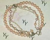 Triple Strand Soft Pink Pearl Bracelet