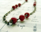 Triple Red Berries and Brass Necklace    Shabby Chic Cottage Style Mothers Day Outdoor Wedding Garden