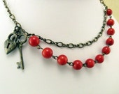 Heart and Lock Red Necklace with Red Bamboo Coral, Gift for Her Jewelry