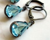 Aqua Blue Teardrop Rhinestone Earrings